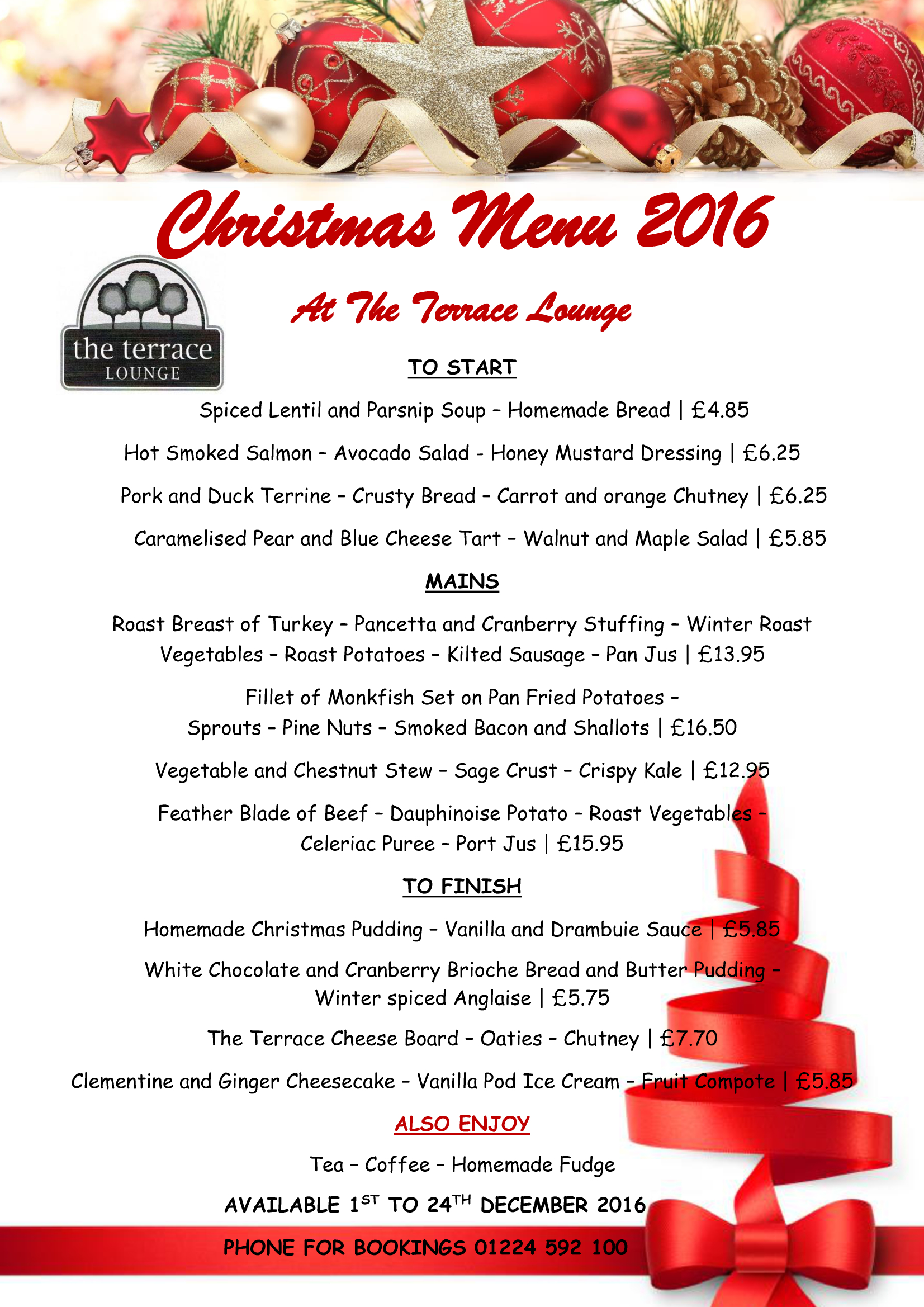 Christmas Menu.Our Festive And Christmas Day Menus The Great Western